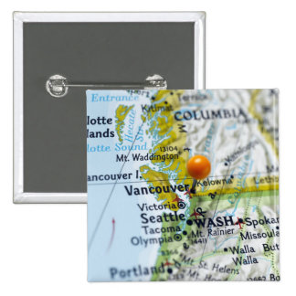 Map pin placed on Vancouver, Canada on map,