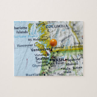 Map pin placed on Vancouver, Canada on map, Jigsaw Puzzle