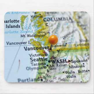 Map pin placed on Vancouver, Canada on map, Mouse Mat