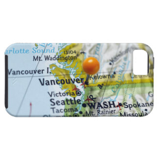 Map pin placed on Vancouver, Canada on map, Tough iPhone 5 Case