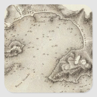 Map Port of Acapulco Square Sticker