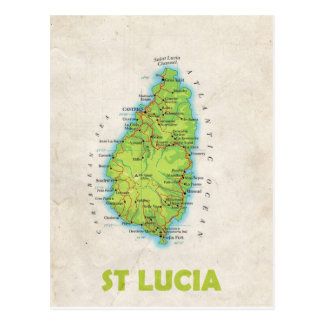 MAP POSTCARDS ♥ St Lucia