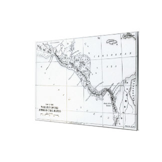Map Proposed Isthmian Canal Routes Canvas Print