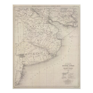 Map, Province of Buenos Aires, neighboring regions Poster