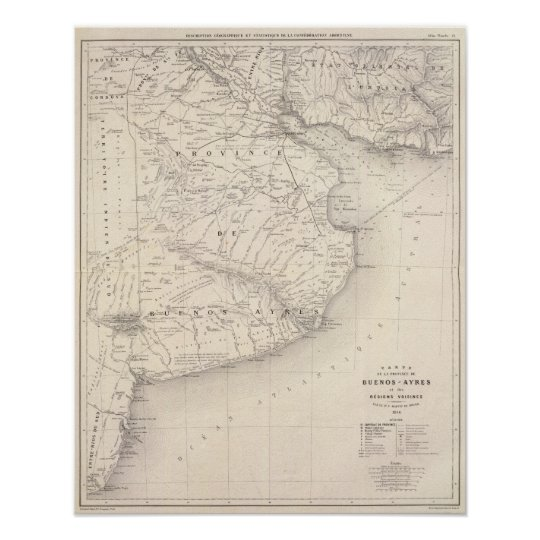 Map, Province of Buenos Aires, neighbouring Poster