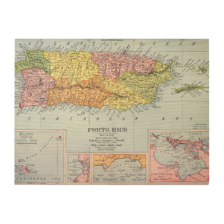 MAP: PUERTO RICO, 1900 WOOD CANVAS
