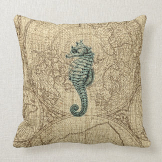Map Sealife Green Seahorse Illustration Coastal Cushion