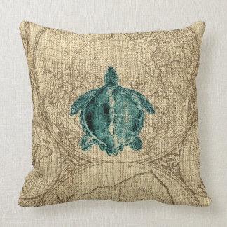 Map Sealife Green Turtle Illustration Coastal Cushion