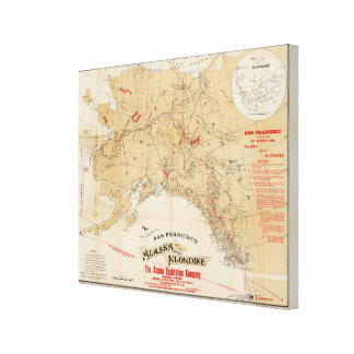 Map Showing Routes from San Francisco to Alaska Stretched Canvas Print