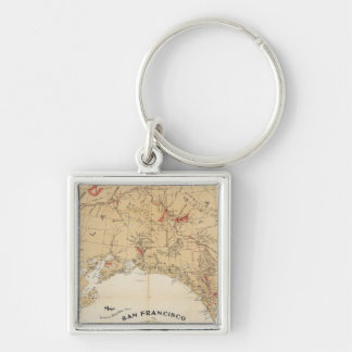 Map Showing Routes from San Francisco to Alaska Keychains
