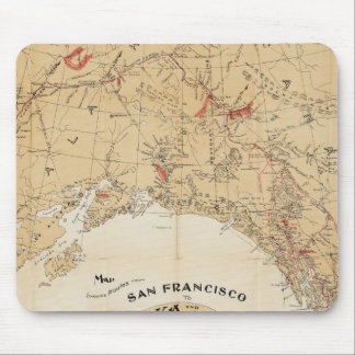 Map Showing Routes from San Francisco to Alaska Mouse Pad