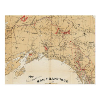 Map Showing Routes from San Francisco to Alaska Postcard