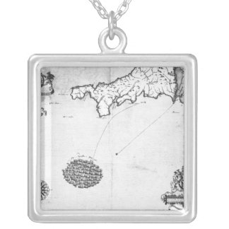 Map showing the route of the Armada fleet Silver Plated Necklace