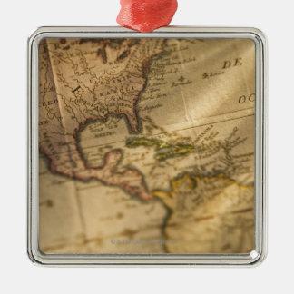 Map Silver-Colored Square Decoration