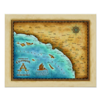 Map So. Cal Blue water Poster