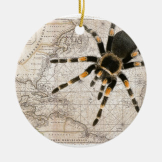 map spider round ceramic decoration