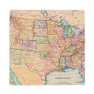 Map: United States, 1905 Wood Coaster