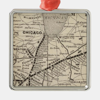 Map Wabash Railway Christmas Ornament