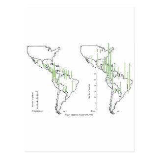 mapa pluviomético densidade américa do sul cartões postais