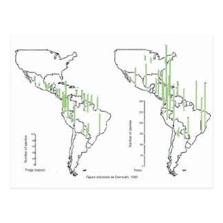 mapa pluviomético densidade américa do sul cartão postal