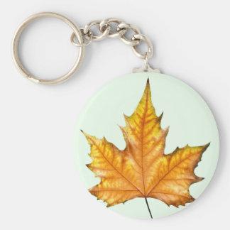 Maple autumn leaf basic round button key ring