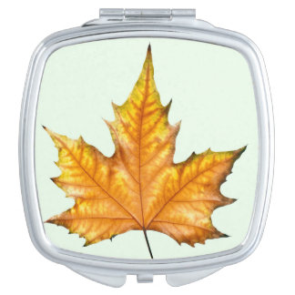 Maple autumn leaf compact mirror