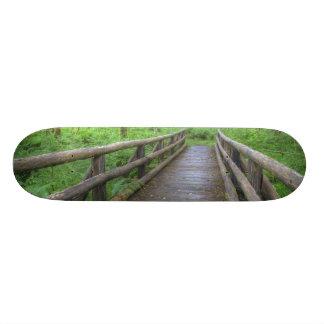 Maple Glade trail wooden bridge, ferns and Skateboards