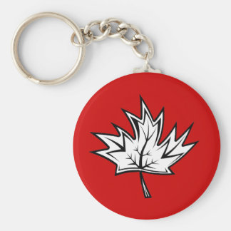 Maple-Leaf Basic Round Button Key Ring