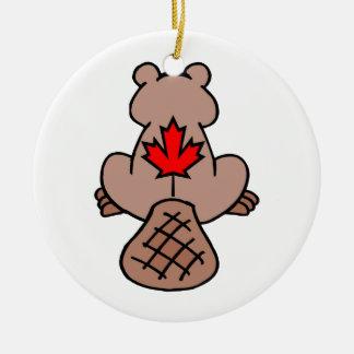 Maple Leaf Beaver Round Ceramic Decoration