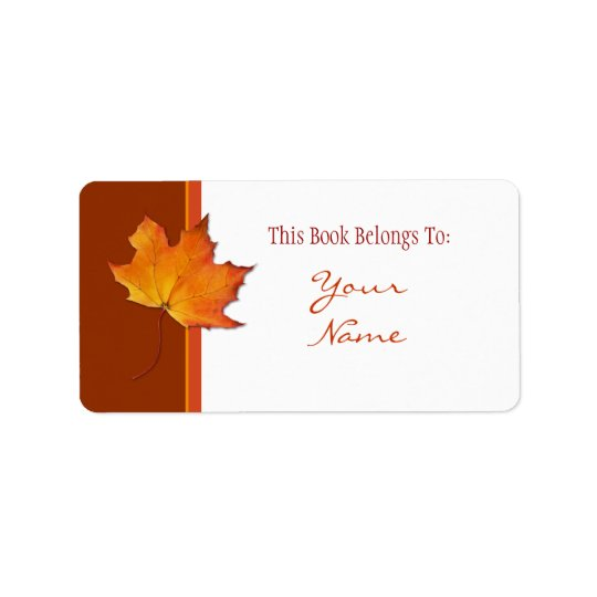 Maple Leaf Bookplate Label Address Label