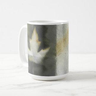 Maple Leaf Design Natural Ink Handmade Art Coffee Mug