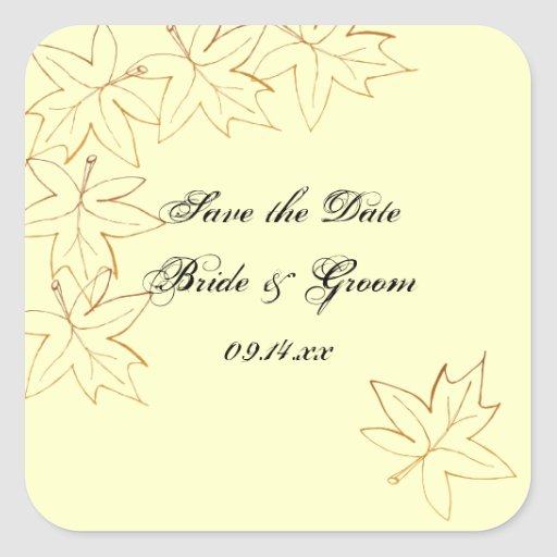 Maple Leaf Edge Wedding Save the Date Stickers