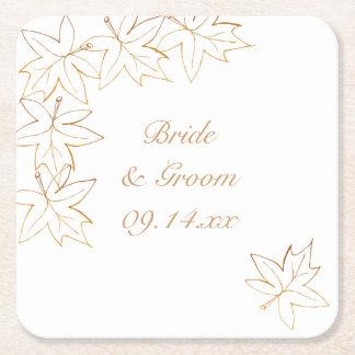 Maple Leaf Edge Wedding Square Paper Coaster