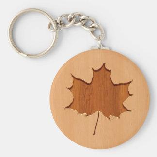 Maple leaf engraved on wood design basic round button key ring