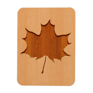 Maple leaf engraved on wood design rectangular photo magnet