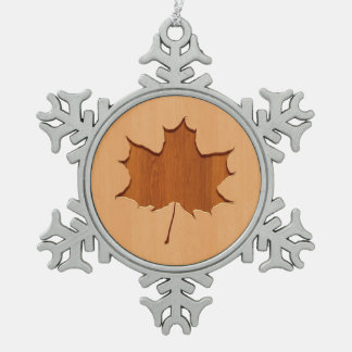 Maple leaf engraved on wood design snowflake pewter christmas ornament