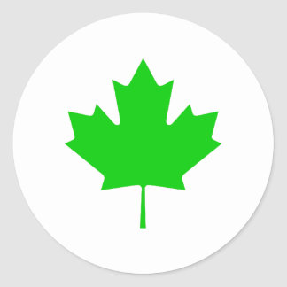 Maple Leaf Green Transp The MUSEUM Zazzle Gifts Round Stickers