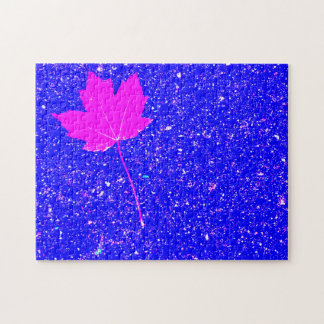 Maple Leaf In Night Sky Jigsaw Puzzle