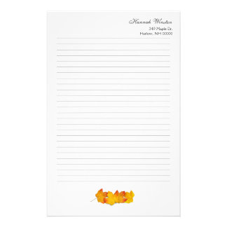 Maple Leaf Personalized Fall Theme Writing Paper Personalised Stationery