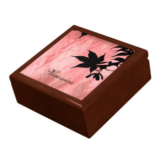 Maple Leaf Silhouette Red Marble Gift Box