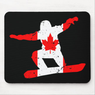 Maple Leaf SNOWBOARDER (blk) Mouse Pad