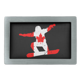 Maple Leaf SNOWBOARDER (blk) Rectangular Belt Buckle