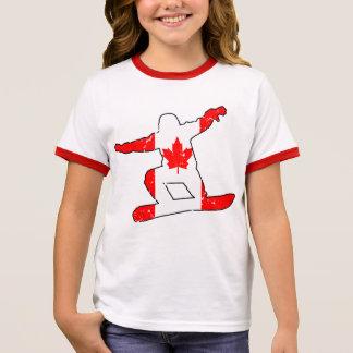 Maple Leaf SNOWBOARDER (blk) Ringer T-Shirt