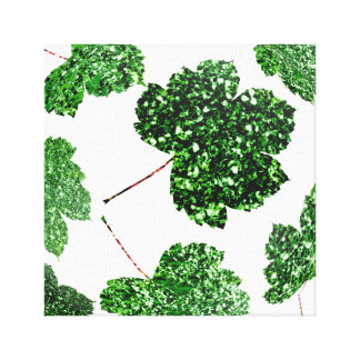 Maple  Leaf  Tropical Green Black Botanical Nature Canvas Print