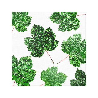 Maple  Leaf  Tropical Green White Botanical Urban Canvas Print