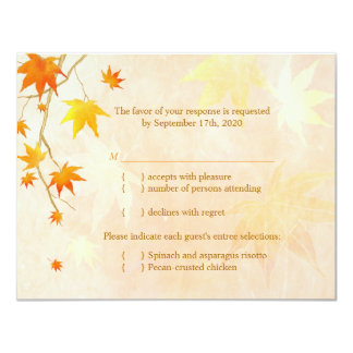 Maple Leaf Wedding RSVP + Menu Choice Card