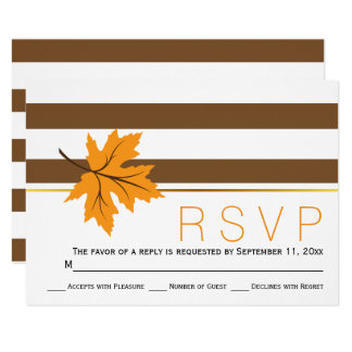 Maple leaves and brown stripes fall wedding RSVP 9 Cm X 13 Cm Invitation Card