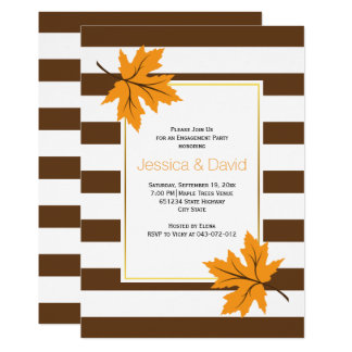 Maple leaves and stripes wedding engagement party card