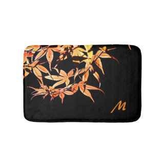 Maple Leaves Autumn Monogram Bath Mat Bath Mats