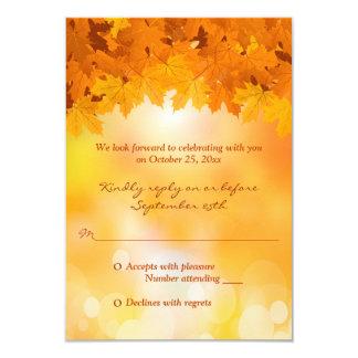 Maple Leaves Autumn Splendor Wedding RSVP Card 9 Cm X 13 Cm Invitation Card
